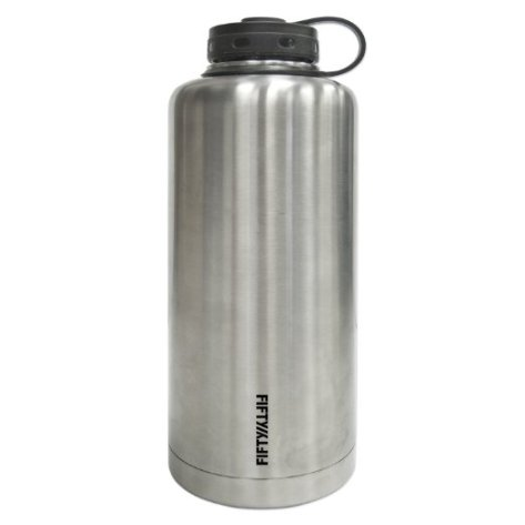 Lifeline 7508 Silver Stainless Steel Vacuum Insulated Double Wall Barrel Style Growler - 64 oz. Capacity